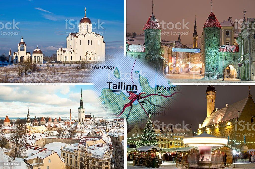 Winter Tallinn collage stock photo