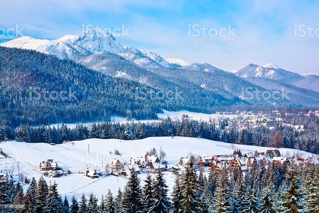 Winter Tatra mountains landscape stock photo