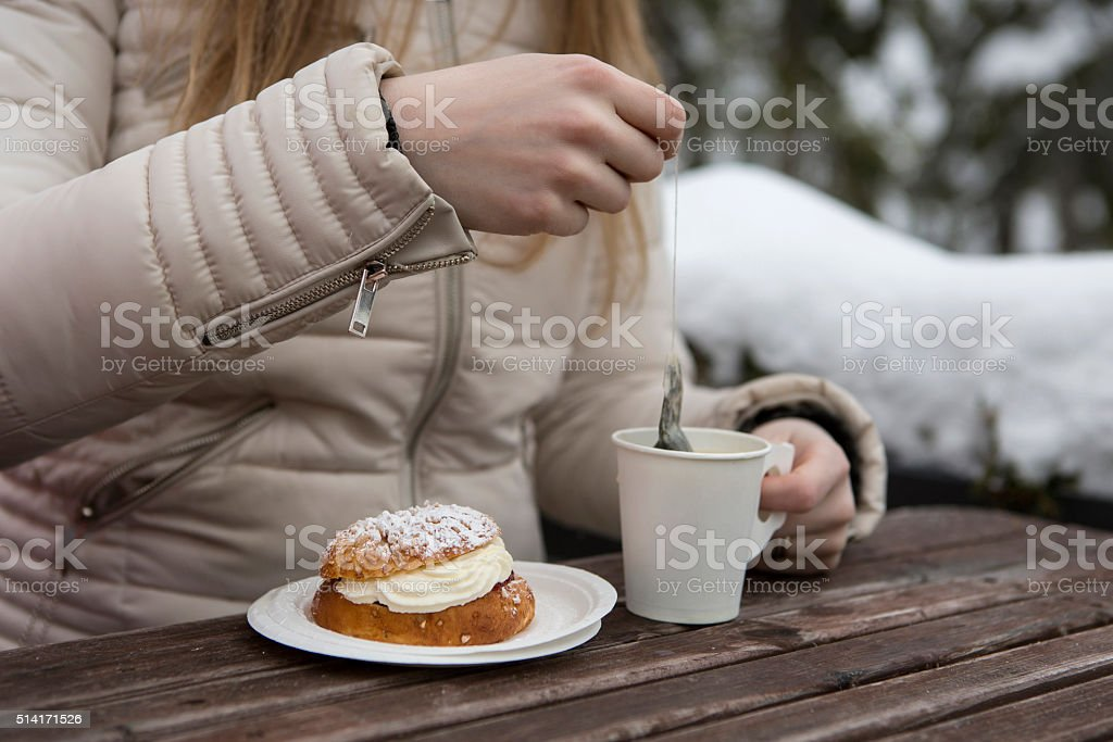 winter tea break stock photo