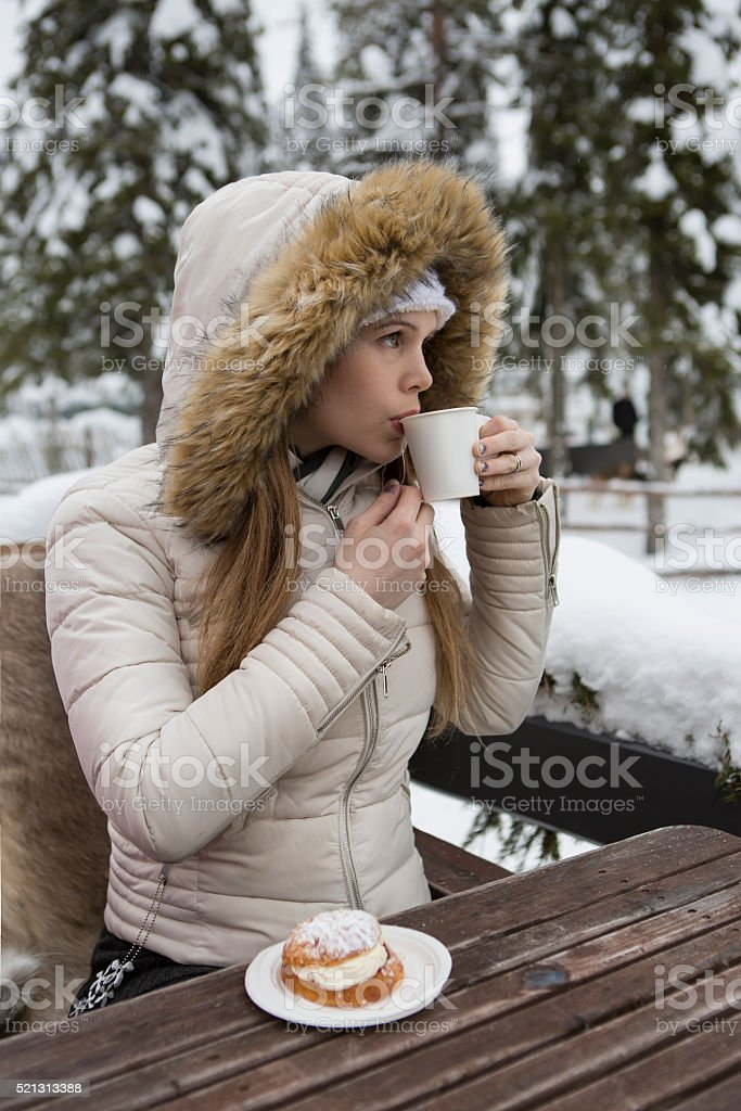 winter tea moment stock photo