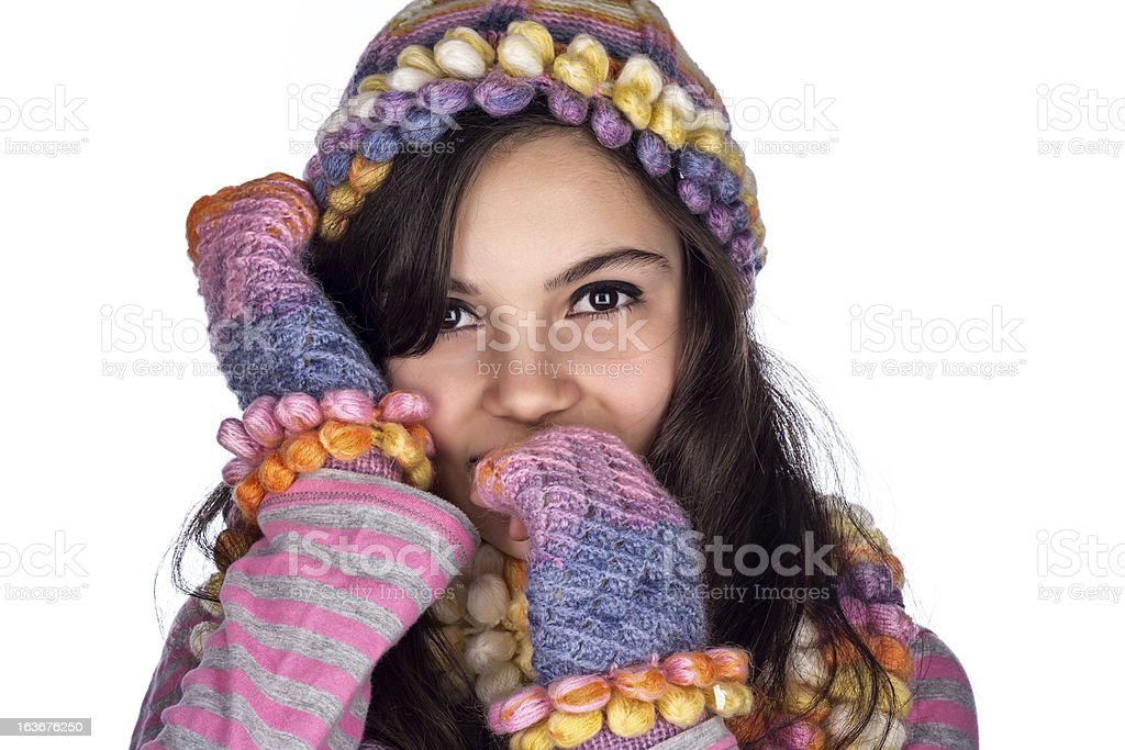 Winter Teenage Girl Isolated royalty-free stock photo