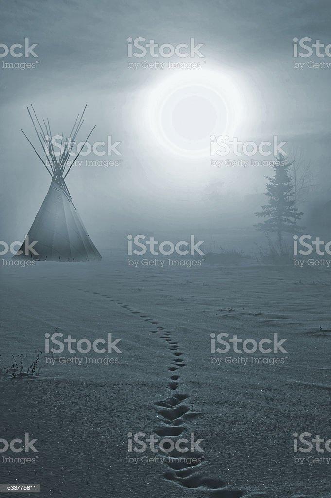 Winter Teepee at Sunrise stock photo