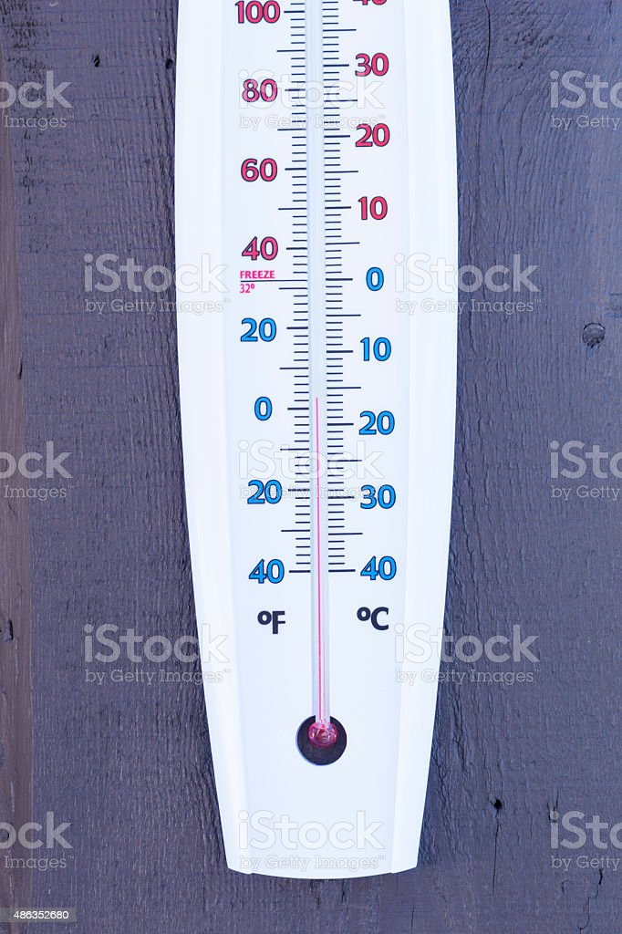 Winter temperature on an outdoor thermometer stock photo