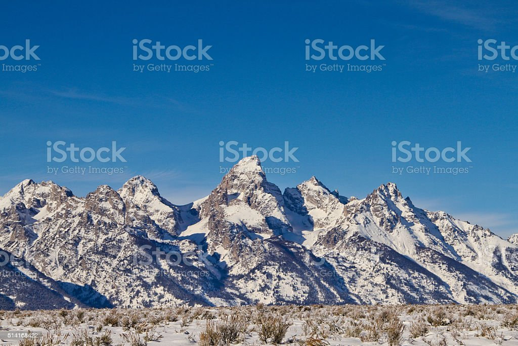 Winter Teton Range stock photo