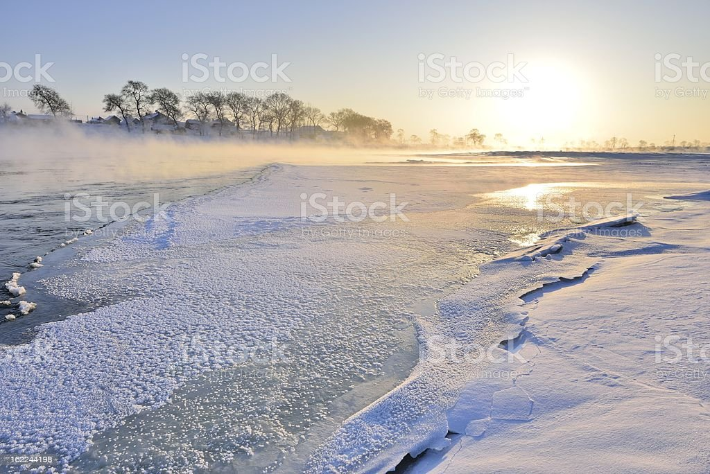 Winter, the beautiful songhua river stock photo