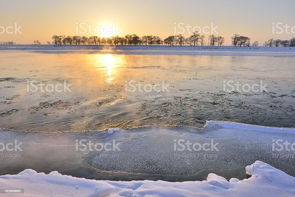 Winter, the beautiful songhua river royalty-free stock photo