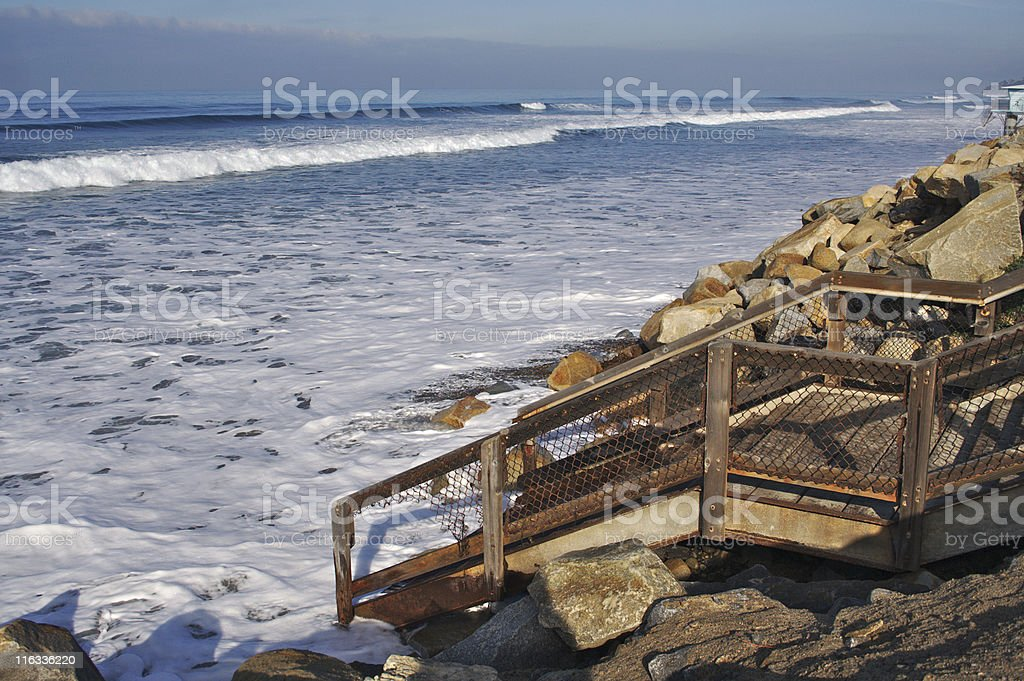 Winter Tide at Torrey Pines State Beach stock photo