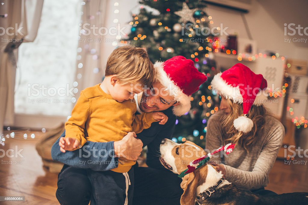 Winter time and family love stock photo