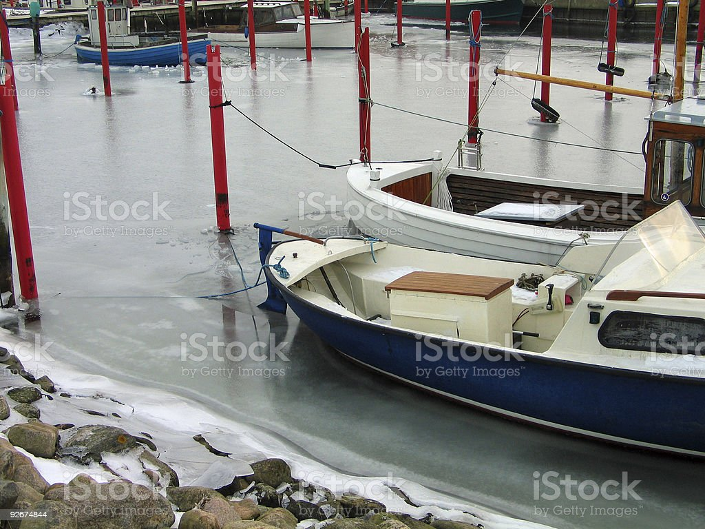 Winter time in a marina royalty-free stock photo