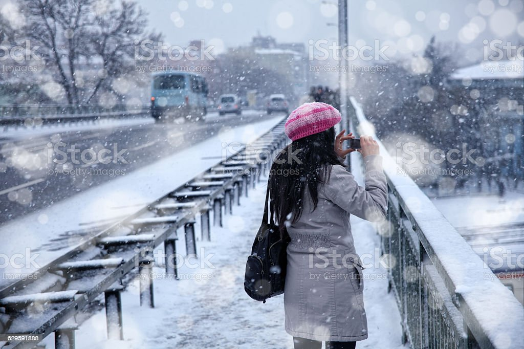 winter time in city stock photo