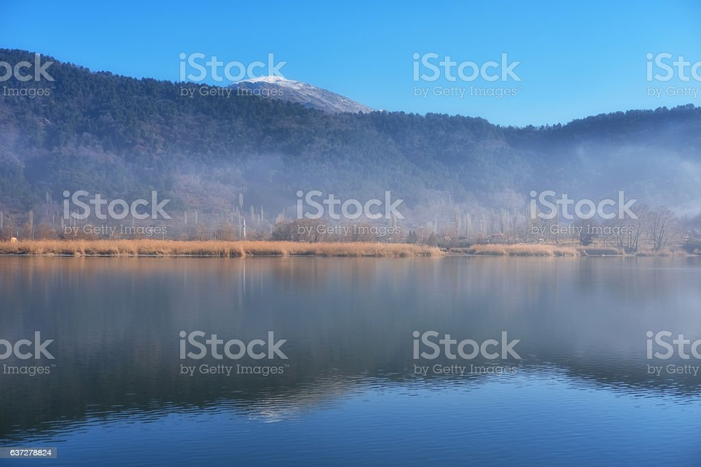 Winter time in Lake Golcuk stock photo
