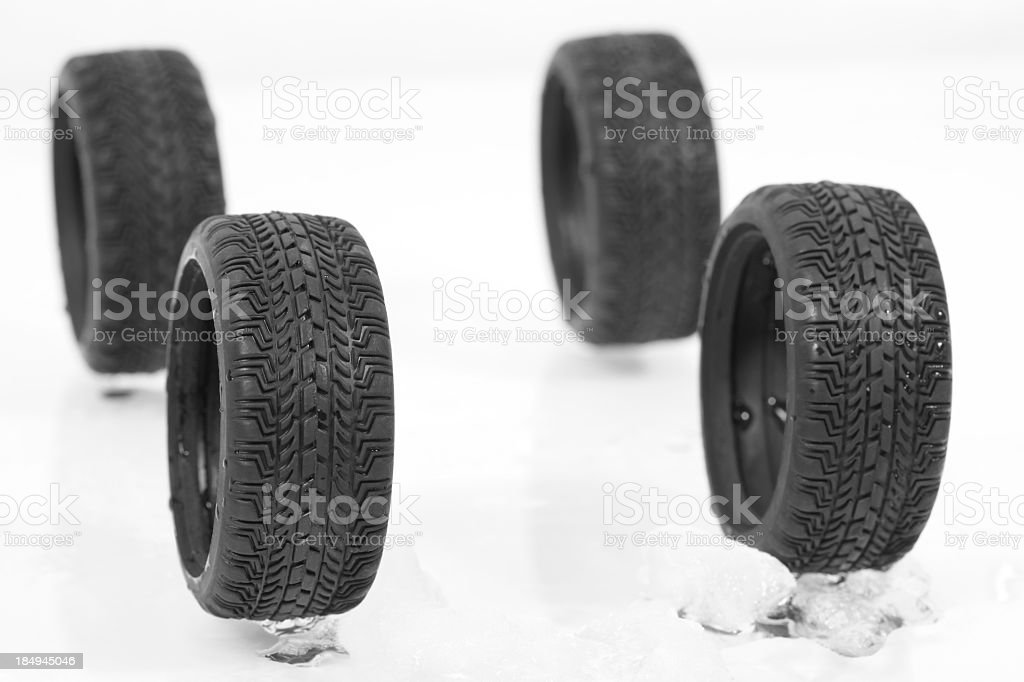 Winter tire in the snow stock photo