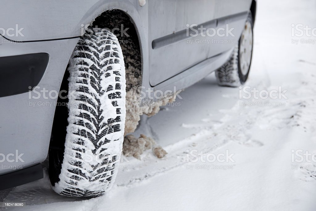Winter tires driving in the snow royalty-free stock photo