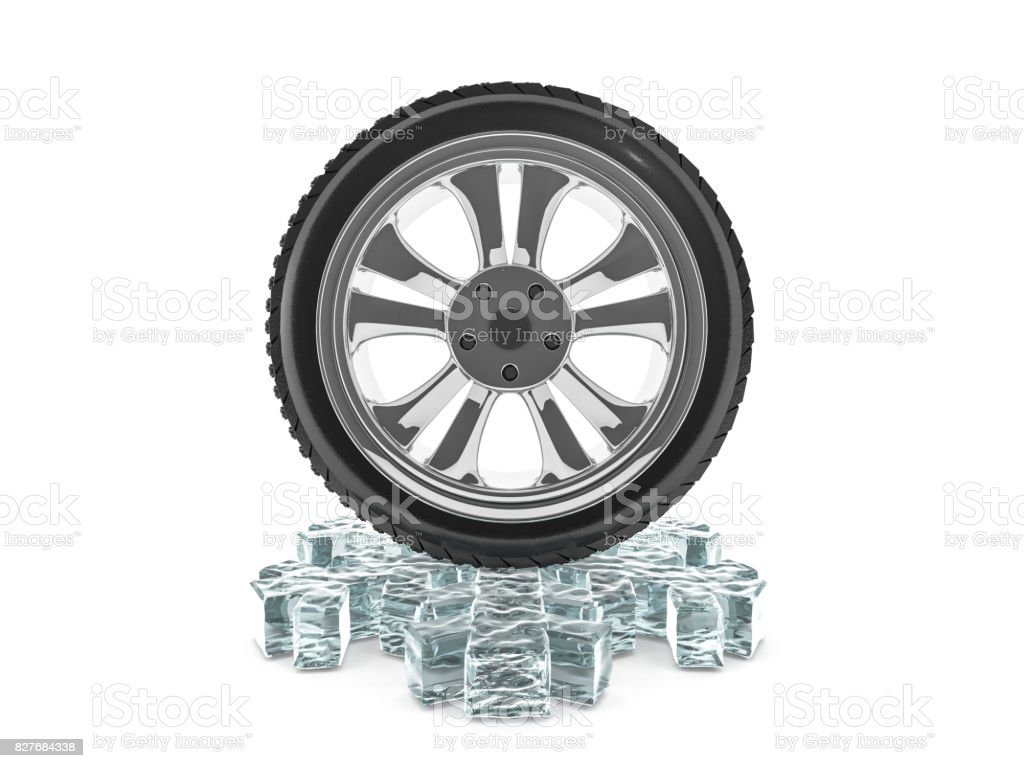 Winter tires with snowflake protector. 3D rendering stock photo