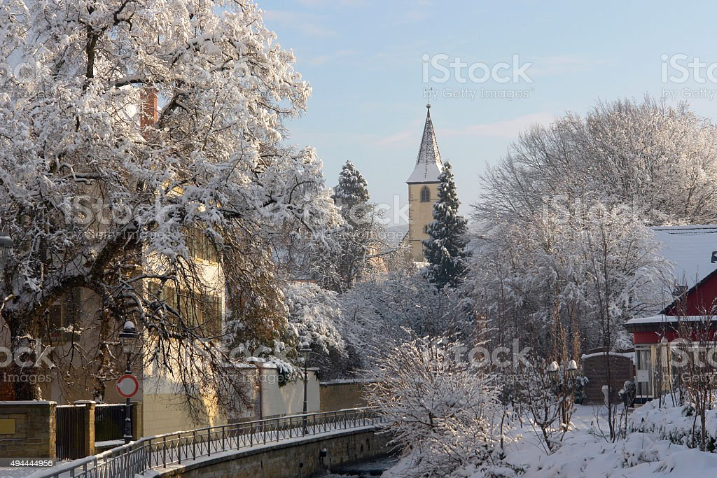 Winter town in Germany stock photo