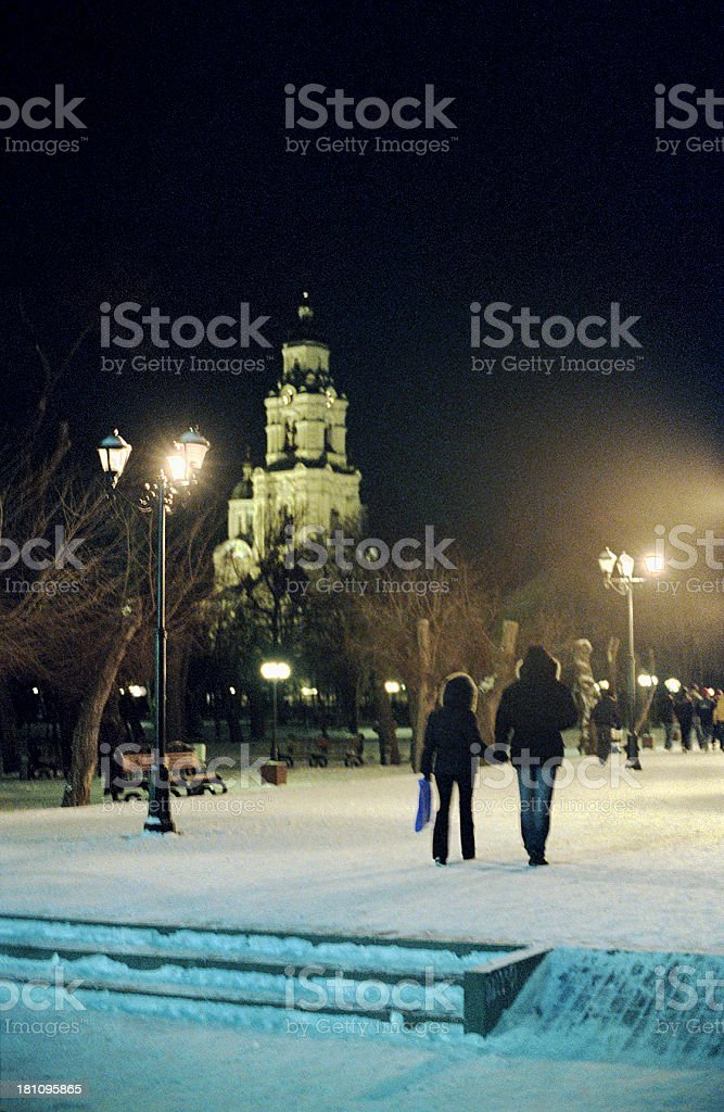 Winter town. stock photo