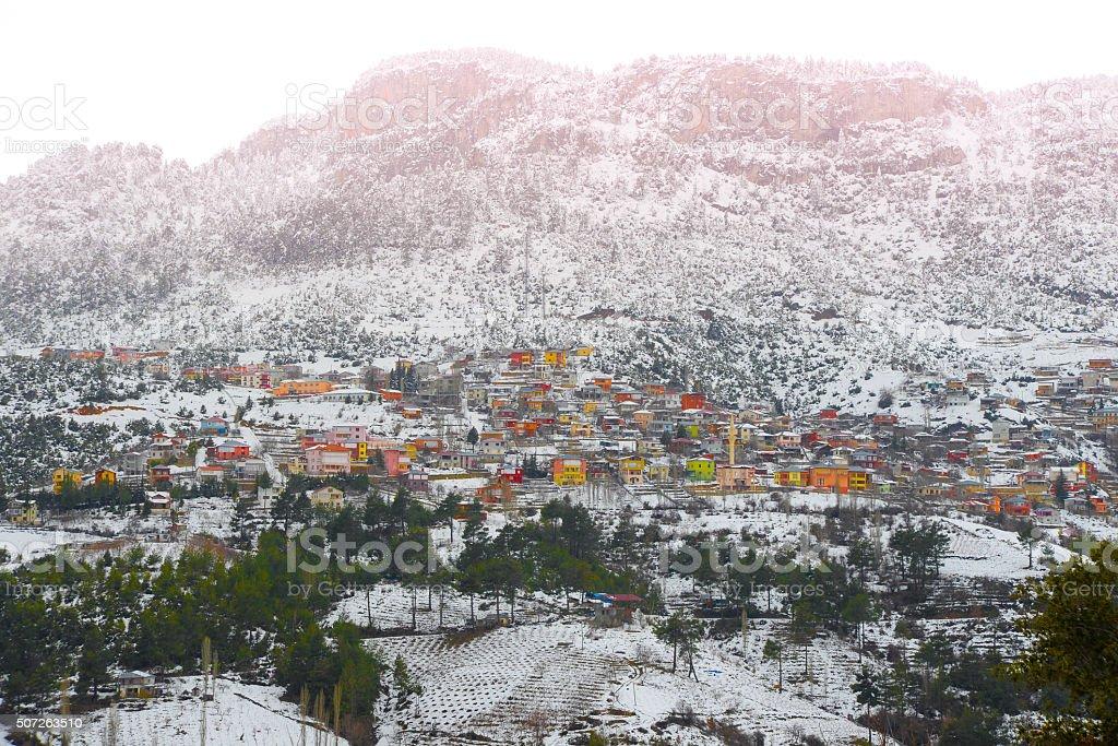 winter, town, snow,mountain stock photo
