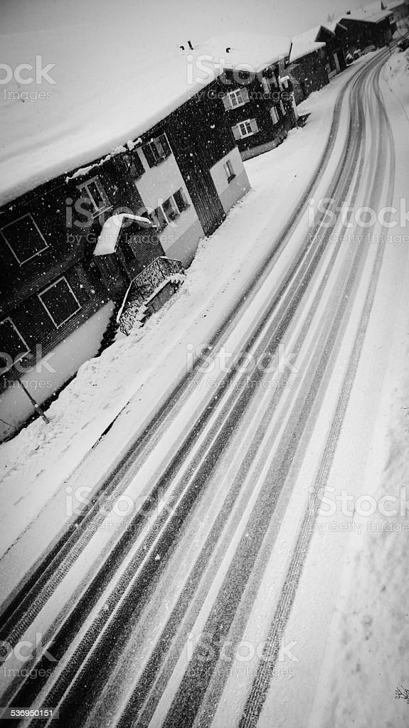 Winter: Tracks on the street stock photo