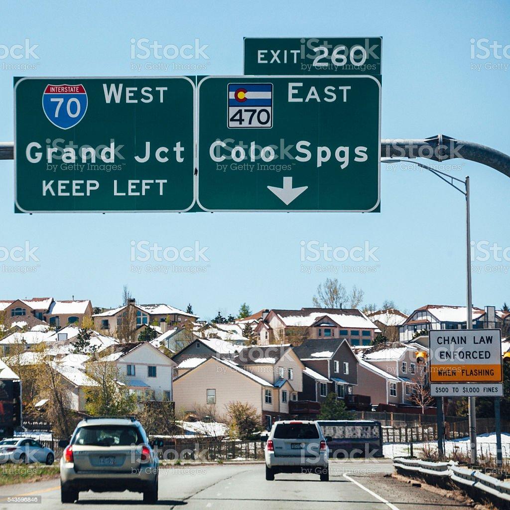 Winter traffic in interstate 70, Colorado. stock photo