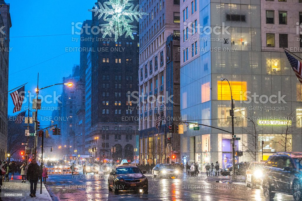 Winter traffic in New York, USA stock photo