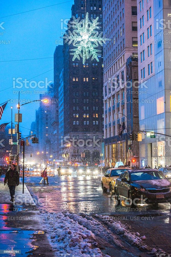 Winter traffic in New York, USA stock photo