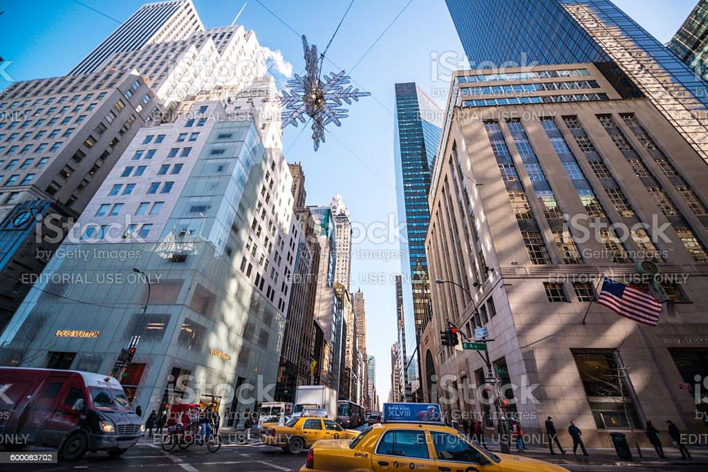 Winter traffic on 5th Avenue, New York, USA stock photo