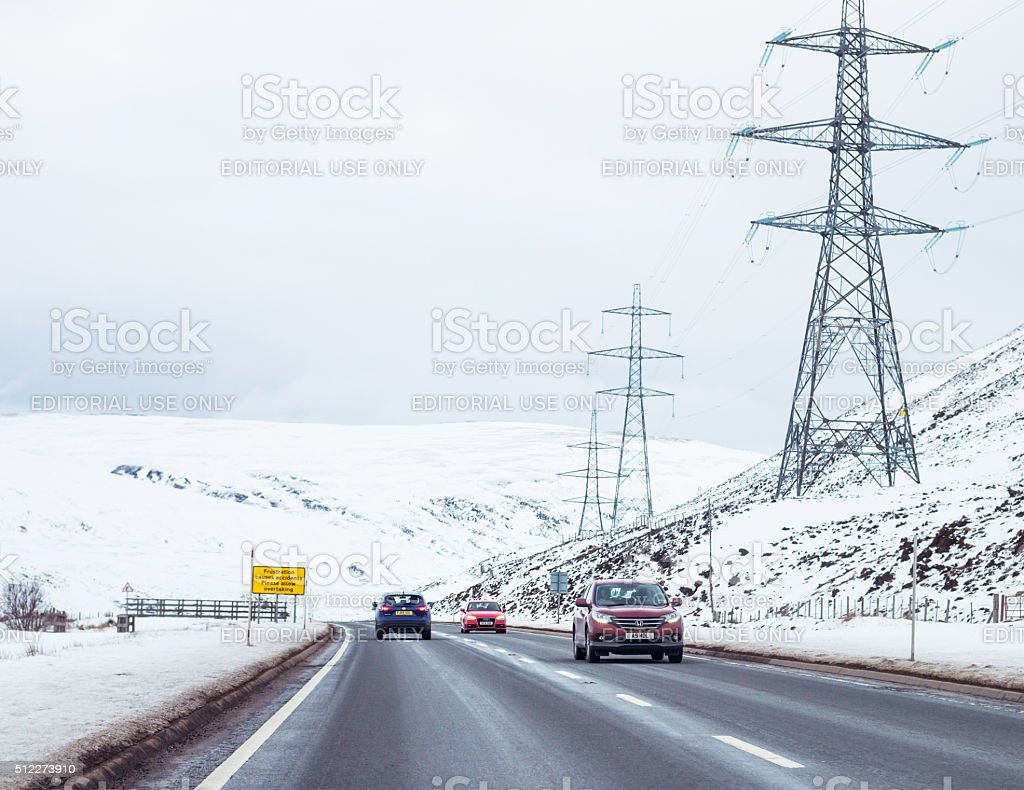 Winter traffic on the A9 in Scotland stock photo
