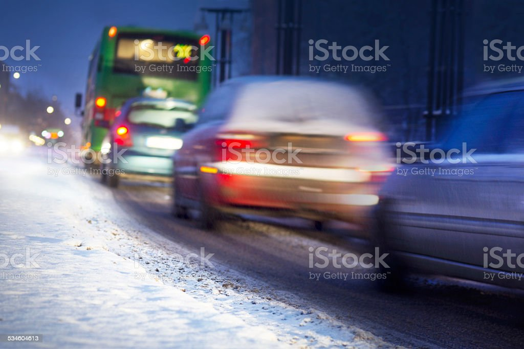 Winter traffic stock photo