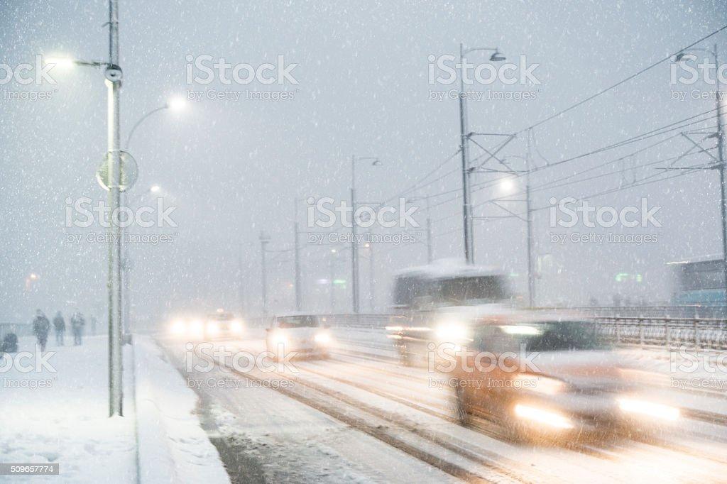 winter traffic scene stock photo