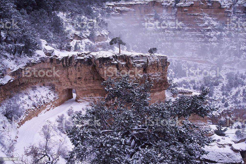Winter trail in Grand Canyon, Arizona royalty-free stock photo