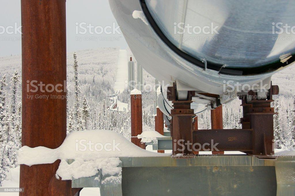 Winter Trans Alaska Pipeline Underneath View stock photo