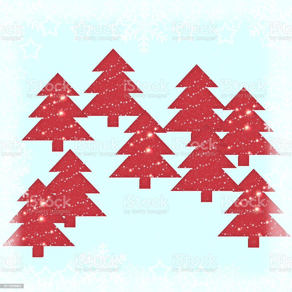 Winter Trees Holidays Background - Illustration ... stock photo
