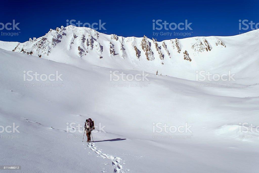Winter trekking stock photo