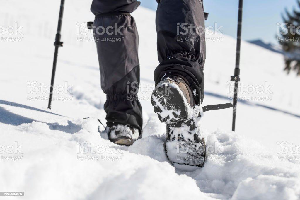 Winter trekking with male boots in the snow and trekking sticks stock photo