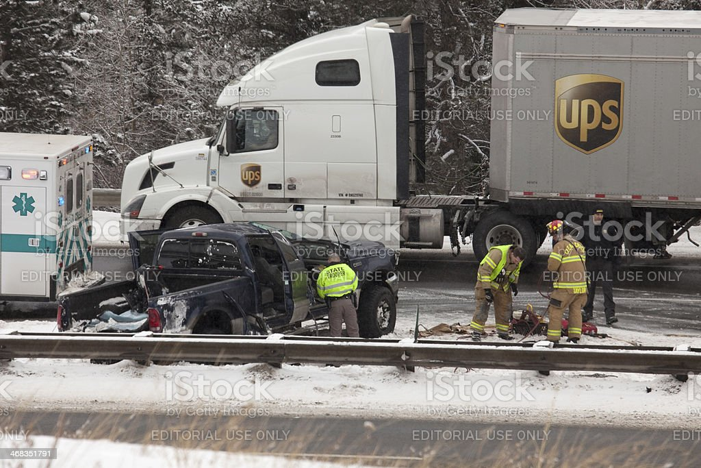 Winter truck accident on Interstate 70 Colorado stock photo