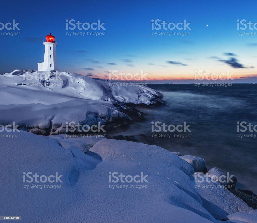 Winter Twilight at Lighthouse stock photo