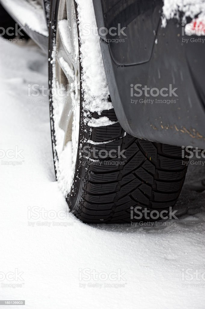 Winter Tyre on snow covered road royalty-free stock photo