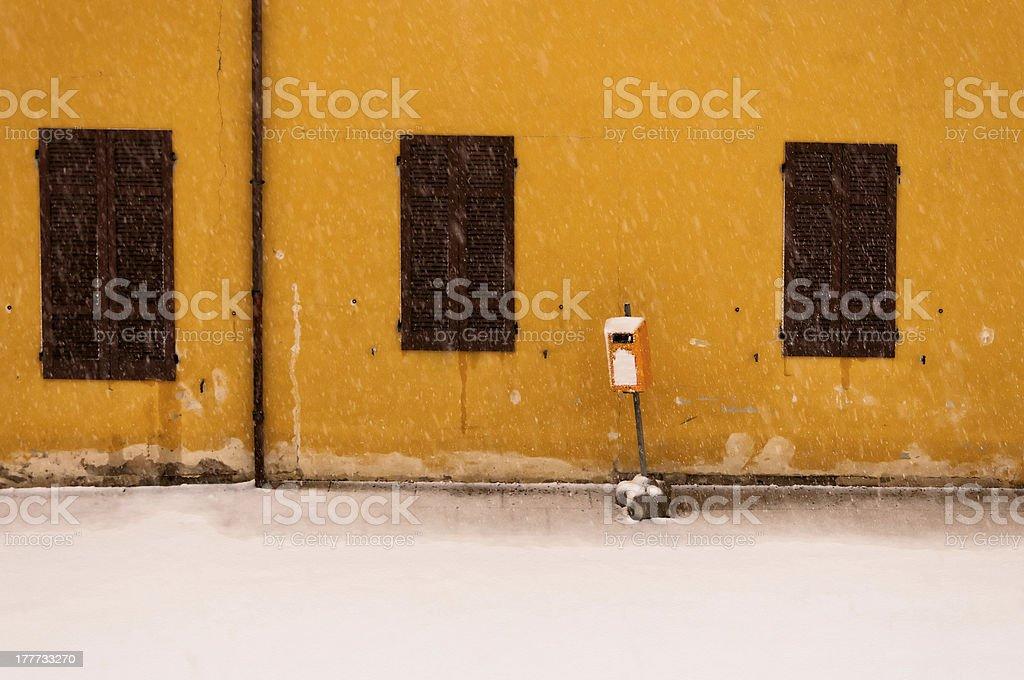 winter urban detail during intense snowfall royalty-free stock photo