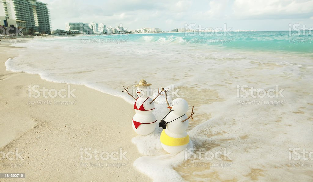 Winter Vacation in Tropical Beach of Cancun Mexico stock photo