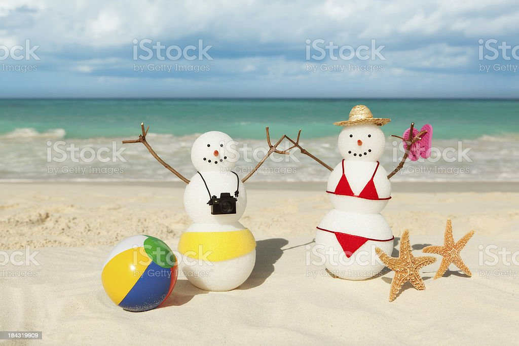 Winter Vacation in Tropical Beach of Caribbean Sea royalty-free stock photo