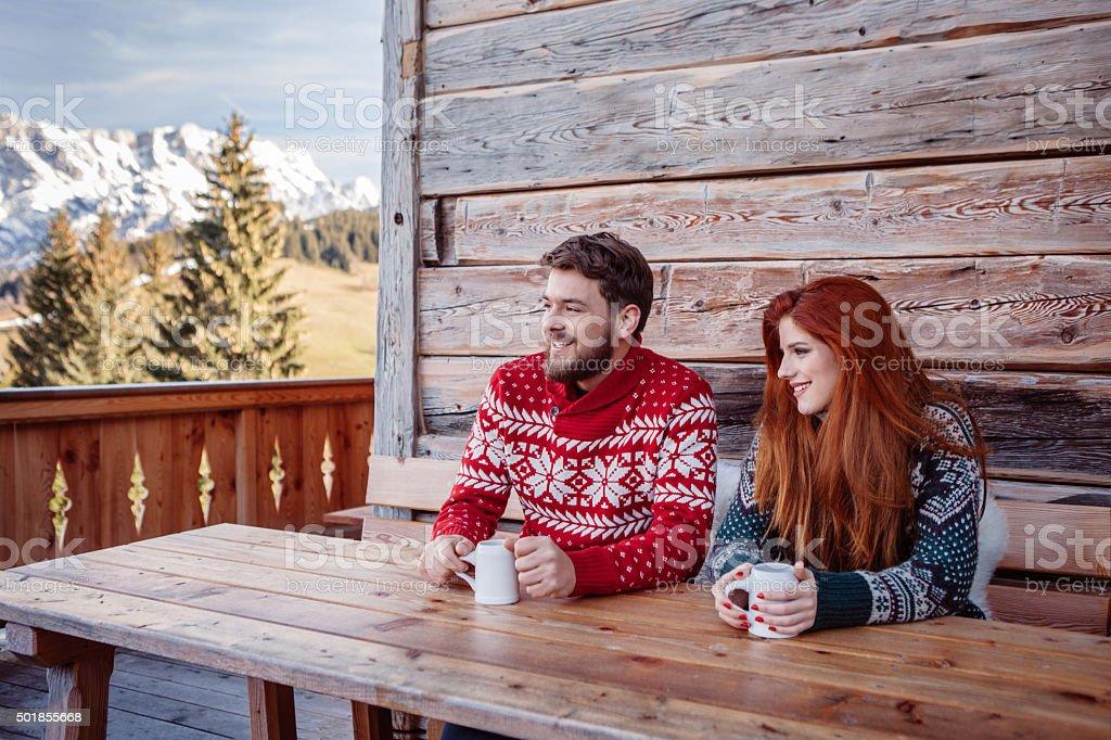 Winter vacation on mountain stock photo