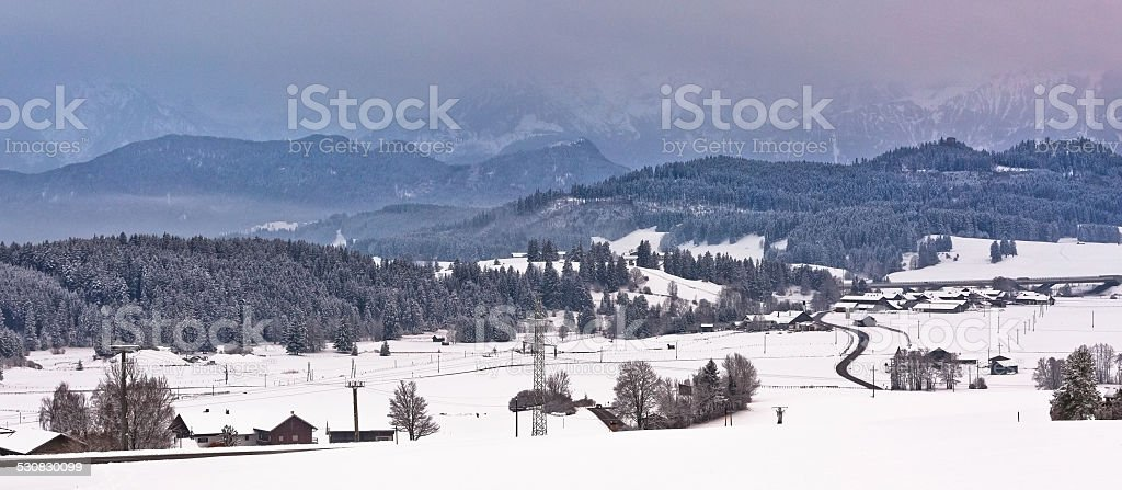 Winter view from Seeg, Germany stock photo