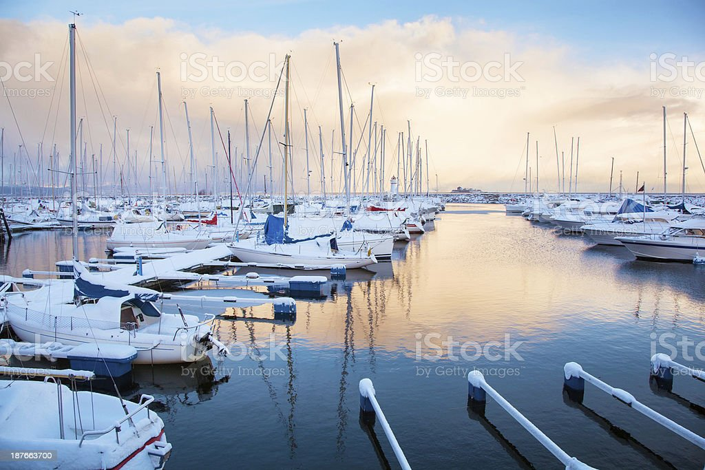 Winter view of a marina in Trondheim stock photo