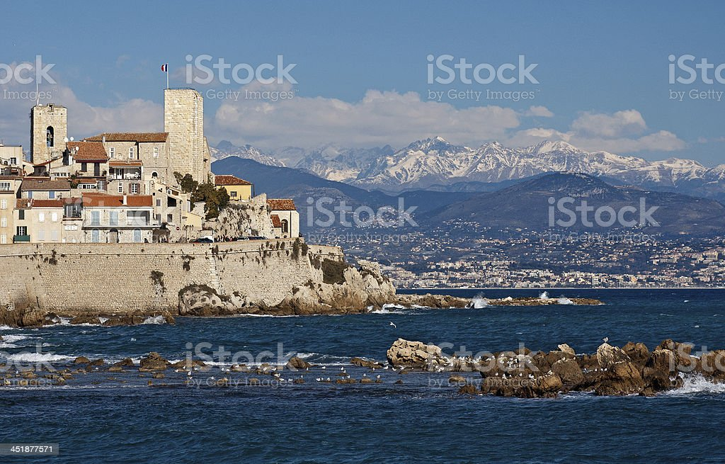 Winter view of Antibes Cote d'Azur stock photo