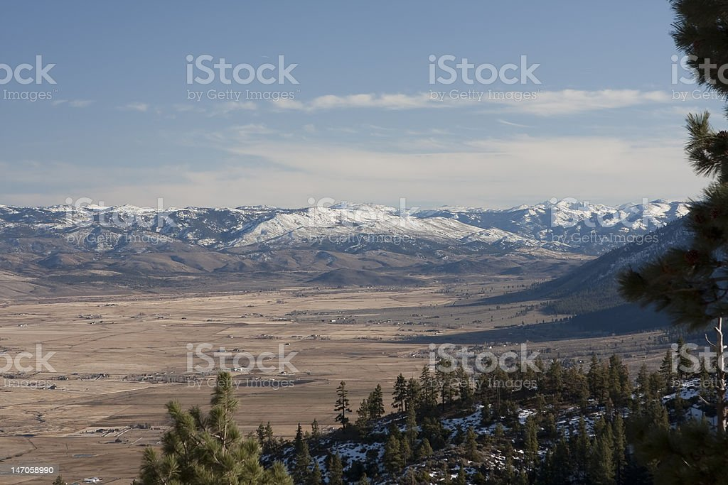 Winter View of Carson Valley Nevada stock photo