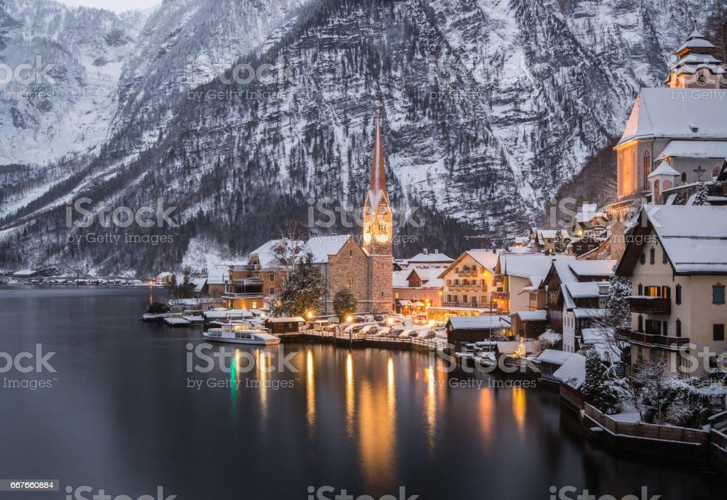 Winter View Of Hallstatt, Hallstatt, Austria stock photo