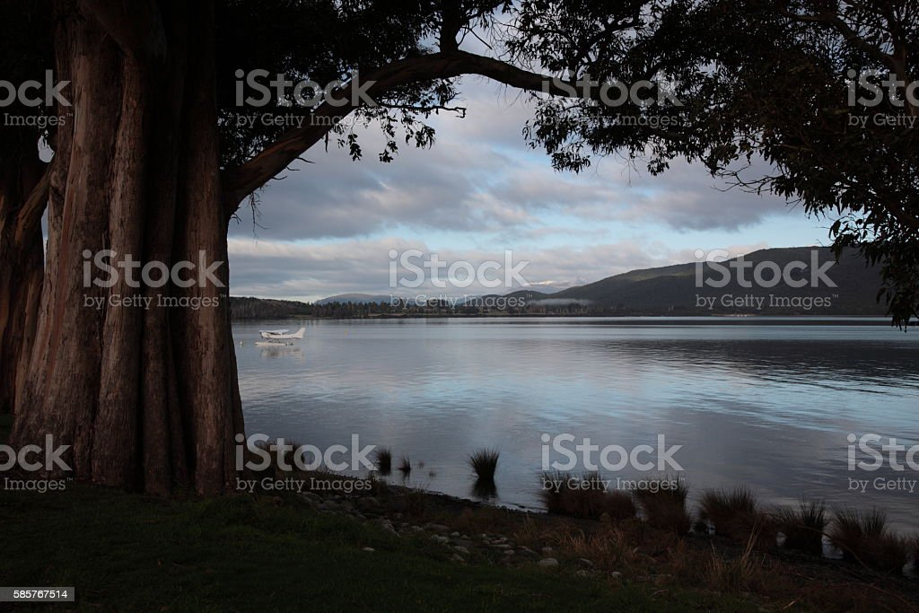 Winter view of Lake Te Anau at dusk New Zealand. stock photo
