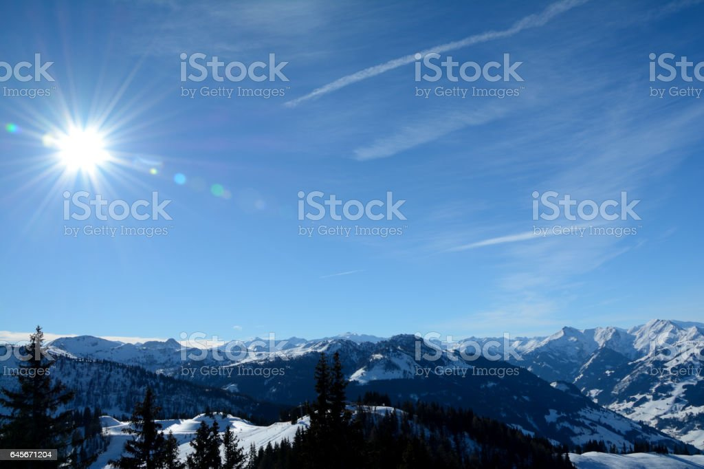 Winter view of mountains nearby Wagrain and Alpendorf in Alps in Austria stock photo