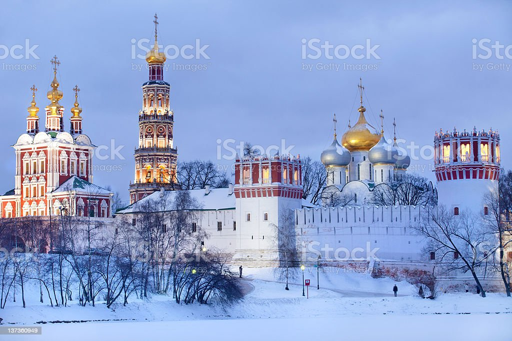 Winter view of Novodevichy convent in Moscow, Russia stock photo