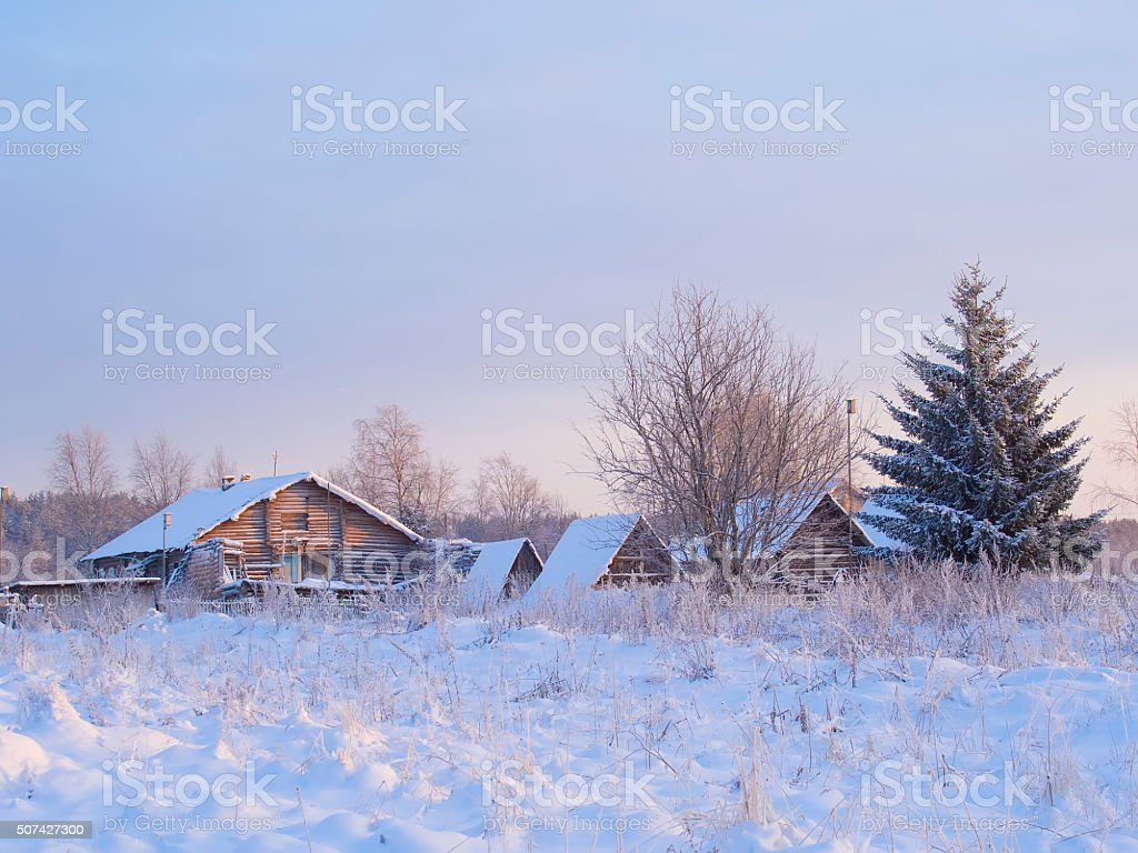 winter view of old farm house in forest stock photo